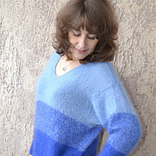 Одежда ручной работы. Ярмарка Мастеров - ручная работа Вязаный джемпер Синий градиент. Handmade.