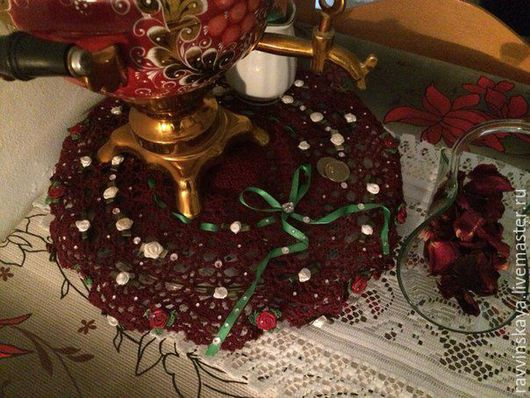 """Текстиль, ковры ручной работы. Ярмарка Мастеров - ручная работа. Купить Вязанная салфетка, ажурная, крючком """" В гостях у бабушки"""". Handmade."""