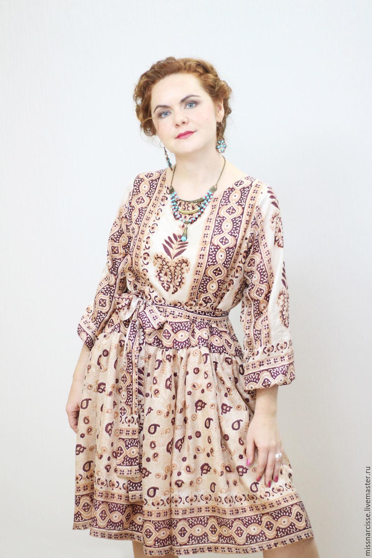 Cream dress from natural silk lining viscose, Dresses, Polevskoi,  Фото №1
