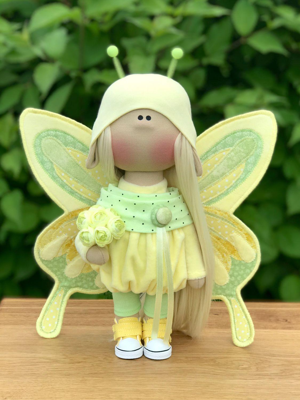 Интерьерная текстильная кукла-бабочка, Тыквоголовка, Киев,  Фото №1