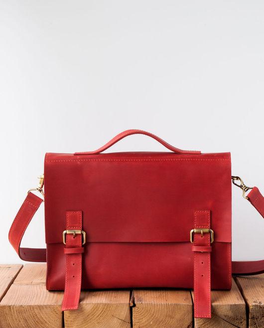 Мужские сумки ручной работы. Ярмарка Мастеров - ручная работа. Купить Портфель Semper из кожи красного цвета.. Handmade. Однотонный