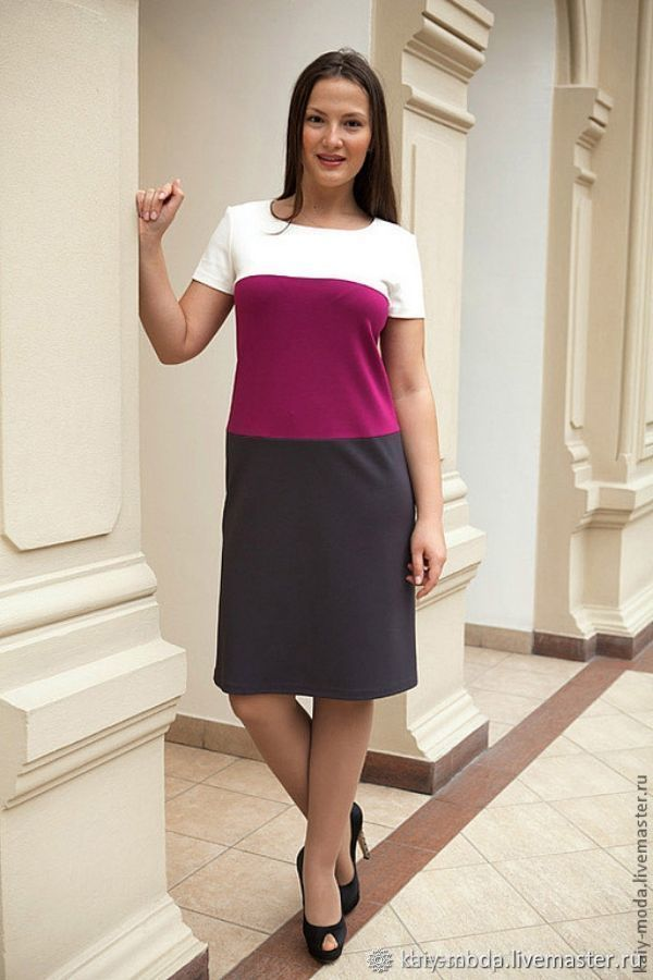 Tricolor Jersey dress - white, fuchsia, graphite, Dresses, Moscow,  Фото №1