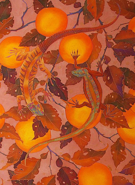 """Шали, палантины ручной работы. Ярмарка Мастеров - ручная работа. Купить батик платок """"Апельсины и ящерки"""". Handmade. Шелк"""