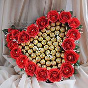 """Подарки к праздникам ручной работы. Ярмарка Мастеров - ручная работа Сердце из конфет  """"Любовь моя большая"""". Handmade."""