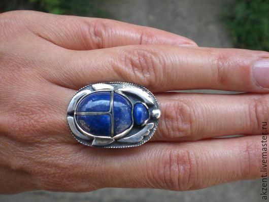 Кольца ручной работы. Ярмарка Мастеров - ручная работа. Купить Лазуритовый скарабей. Handmade. Синий, лазурит натуральный