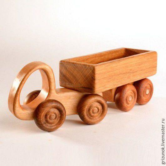 Техника ручной работы. Ярмарка Мастеров - ручная работа. Купить Деревянная машинка Трейлер. Handmade. Коричневый, дуб, трейлер деревянный