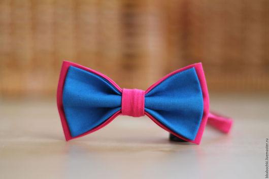 Галстуки, бабочки ручной работы. Ярмарка Мастеров - ручная работа. Купить Бабочка сине-розовая детская/взрослая. Handmade. Синий