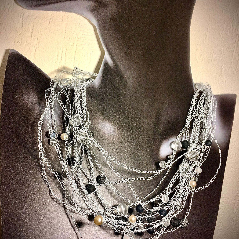 фото проволочное ожерелье с бусинами оставляйте