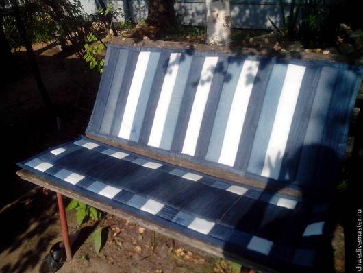 Текстиль, ковры ручной работы. Ярмарка Мастеров - ручная работа. Купить Подушка-сидушка для дачной скамейки. Handmade. Тёмно-синий