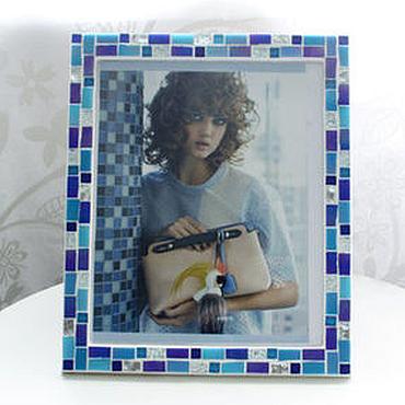 Сувениры и подарки ручной работы. Ярмарка Мастеров - ручная работа Фоторамка 21x25 голубая. Handmade.