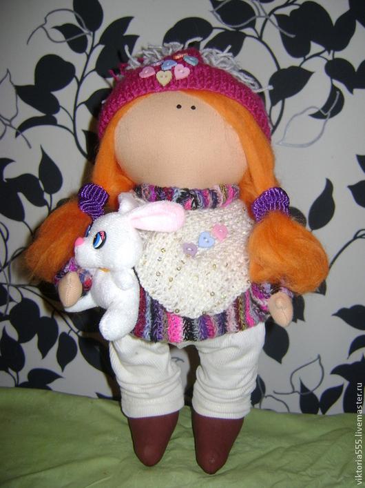 Человечки ручной работы. Ярмарка Мастеров - ручная работа. Купить Интерьерная текстильная кукла. Handmade. Тёмно-фиолетовый, текстильная кукла