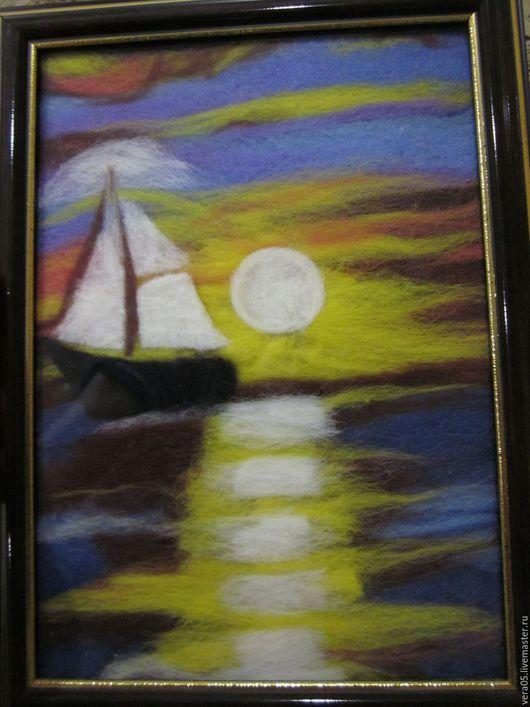 """Пейзаж ручной работы. Ярмарка Мастеров - ручная работа. Купить Картина из шерсти """"Парус"""". Handmade. Картина из шерсти, картина, подарок"""