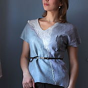 Одежда handmade. Livemaster - original item Blouse felted Silver Creek. Handmade.