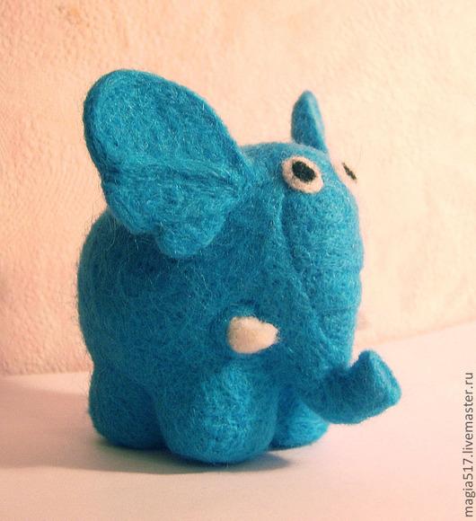 Игрушки животные, ручной работы. Ярмарка Мастеров - ручная работа. Купить Голубой Слоник (символ удачи). Handmade. Голубой