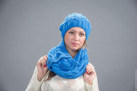 """Комплекты аксессуаров ручной работы. Ярмарка Мастеров - ручная работа. Купить Комплект шапка и снуд """"Морозко"""" голубой васильковый. Handmade."""