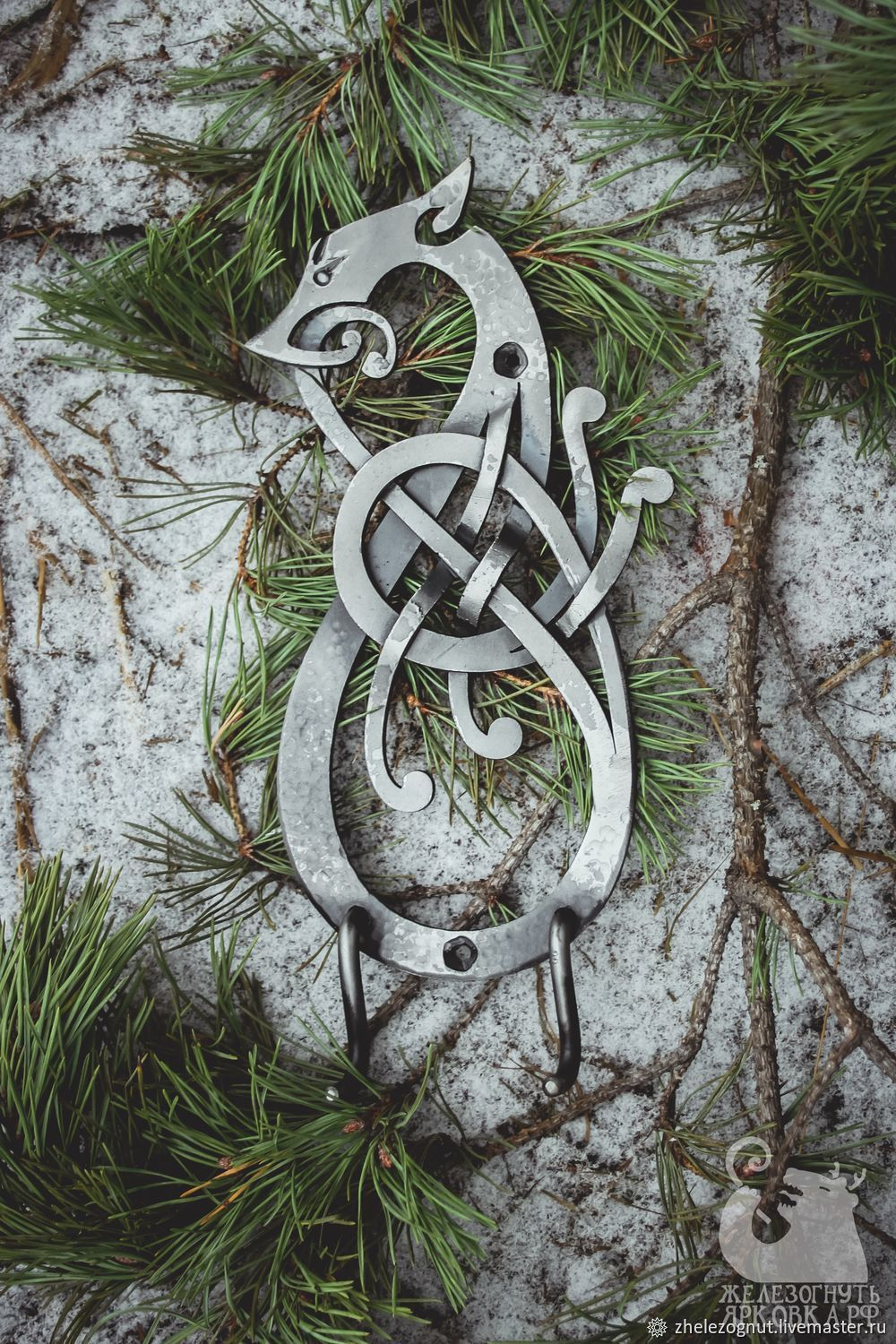 Wrought iron hanger in the Scandinavian style ' Wolf', Clothes Hangers and Hooks, Yaroslavl,  Фото №1