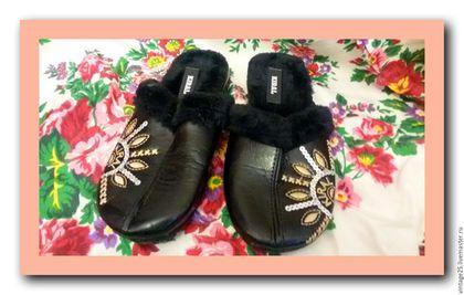 Винтажная обувь. Ярмарка Мастеров - ручная работа. Купить Новые меховые тапочки. Handmade. Черный, тапки винтажные, тапочки на меху