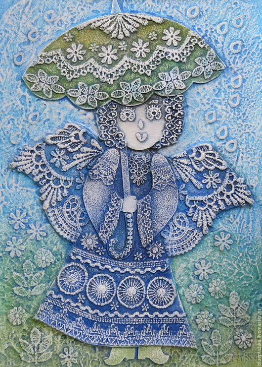Символизм ручной работы. Ярмарка Мастеров - ручная работа. Купить Картина кружевная  Ангел под зонтиком. Handmade. Голубой
