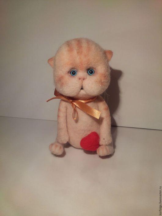 Игрушки животные, ручной работы. Ярмарка Мастеров - ручная работа. Купить котик Персик. Handmade. Бежевый, из шерсти, игрушки животные