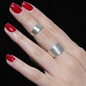 Украшения handmade. Livemaster - original item Minima series double ring made of brushed silver 925 ASH0021. Handmade.