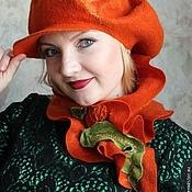 """Аксессуары ручной работы. Ярмарка Мастеров - ручная работа """"Pumpkin"""" авторский валяный комплект. Handmade."""