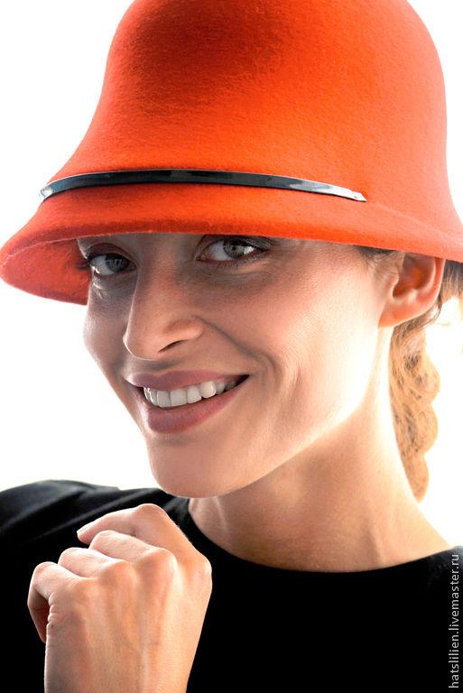 """Шляпы ручной работы. Ярмарка Мастеров - ручная работа. Купить Фетровая шляпа """"Лесли"""". Handmade. Ярко-красный, велюровая шляпа"""