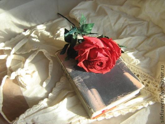 Искусственные растения ручной работы. Ярмарка Мастеров - ручная работа. Купить Алая роза. Handmade. Ярко-красный, натуральный шёлк
