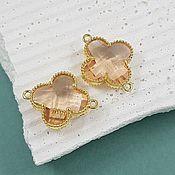 Материалы для творчества handmade. Livemaster - original item Connector Flower 19x15x5 mm beige/gold-plated (4656-H). Handmade.