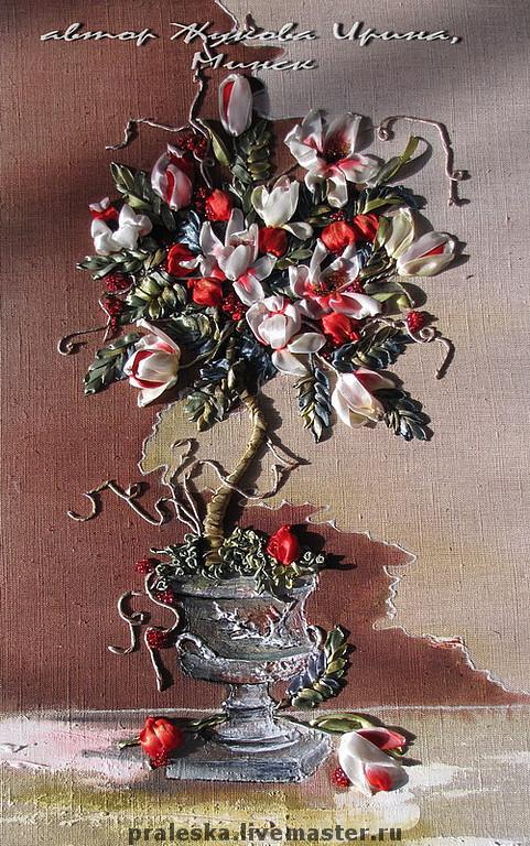Картины цветов ручной работы. Ярмарка Мастеров - ручная работа. Купить картина Большое Гранатовое дерево. Handmade. Ярко-красный