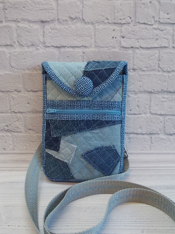 For Phones handmade. Livemaster - handmade. Buy Denim phone bag, Blue,phone case with pocket.Bag, textiles
