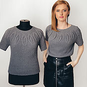Материалы для творчества handmade. Livemaster - original item Description of knitting t-shirt Dress Combo Master class on knitting Scheme. Handmade.