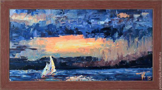 Пейзаж ручной работы. Ярмарка Мастеров - ручная работа. Купить Парус. Handmade. Тёмно-синий, море, яхта, шторм, дождь