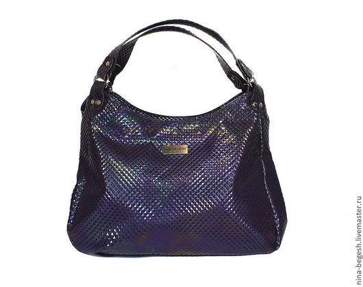 """Женские сумки ручной работы. Ярмарка Мастеров - ручная работа. Купить Сумка кожаная """"Фиолетовый космос"""", кожаная сумка, фиолетовая сумка. Handmade."""