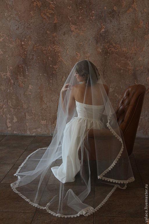 Свадебная фата с узким и плотным кружевом.Цвет фаты ivory. Длина 3 метра. Под заказ. Цена демократичная!