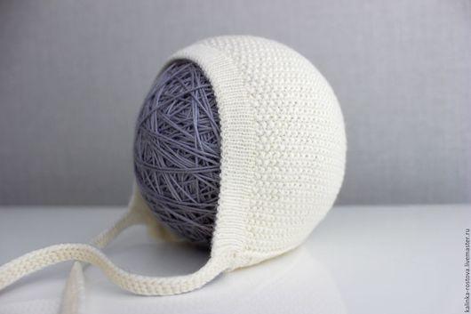 Для новорожденных, ручной работы. Ярмарка Мастеров - ручная работа. Купить Чепчик вязаный для новорожденного, 100% мериносовая шерсть. Handmade.