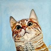 Картины и панно handmade. Livemaster - original item Painting Funny cat, portrait of a pet to order oil. Handmade.