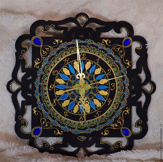 Часы для дома ручной работы. Ярмарка Мастеров - ручная работа. Купить Часы в восточном стиле. Handmade. Тёмно-синий, часы