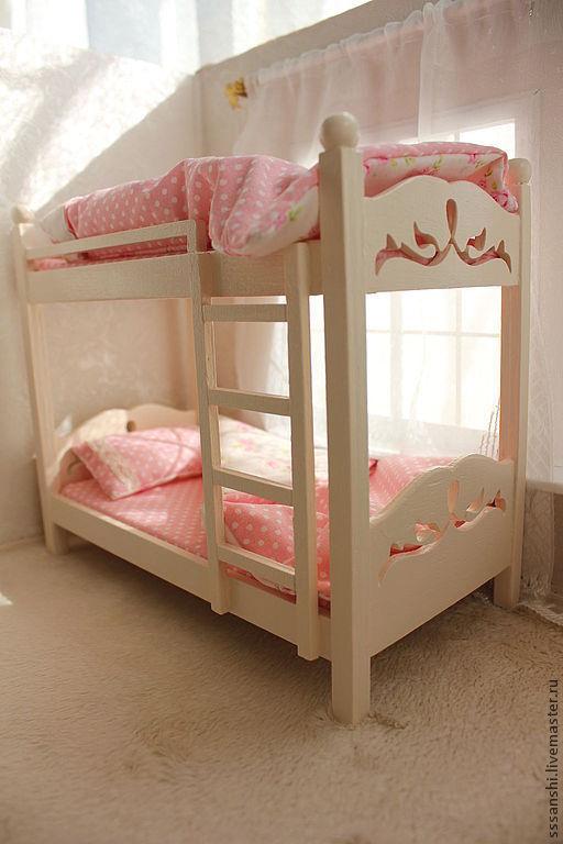 Кукольный дом ручной работы. Ярмарка Мастеров - ручная работа. Купить Двухъярусная кроватка 1:12. Handmade. Бежевый, кукольная миниатюра