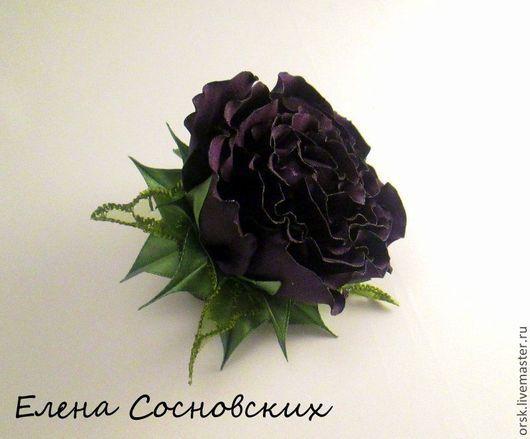 """Заколки ручной работы. Ярмарка Мастеров - ручная работа. Купить """"Черничная роза"""" резинка для волос. Handmade. Тёмно-фиолетовый"""