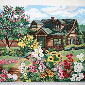 "Картины и панно handmade. Livemaster - original item Painting, rural landscape, embroidered picture of ""the Cottage"". Handmade."