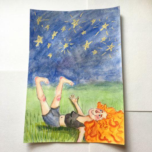 """Люди, ручной работы. Ярмарка Мастеров - ручная работа. Купить Анимация: """"Девочка, смотрящая на звезды"""". Handmade. Девочка, рыжая девочка"""