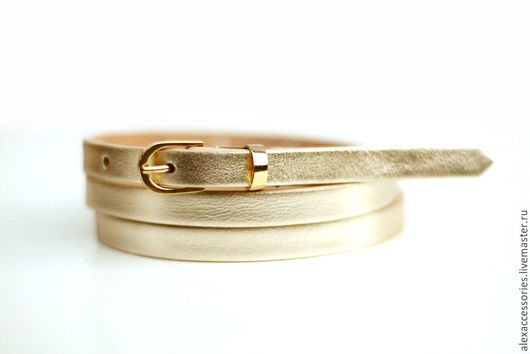 Пояса, ремни ручной работы. Ярмарка Мастеров - ручная работа. Купить Узкий кожаный золотой ремень. Handmade. Ремень