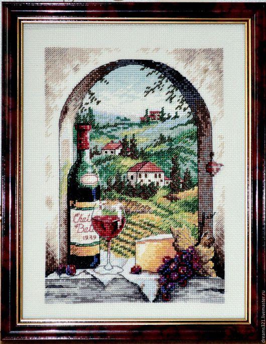 """Натюрморт ручной работы. Ярмарка Мастеров - ручная работа. Купить Вышитая картина от Dimensions """"Мечты о Тоскане"""". Handmade. Тоскана, вино"""