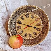 Русский стиль handmade. Livemaster - original item Watch for the house of birch-bark, medium. Watch for the garden. Watch round. Handmade.