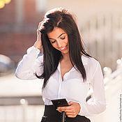 Одежда ручной работы. Ярмарка Мастеров - ручная работа Блузка, блуза, блузка шелк, блузка белая, блузка из шелкового шифона. Handmade.