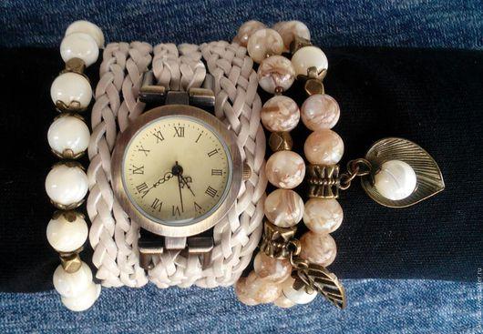 """Часы ручной работы. Ярмарка Мастеров - ручная работа. Купить Часы-браслет с перламутром """"Белый песок"""".. Handmade. Белый, часы"""