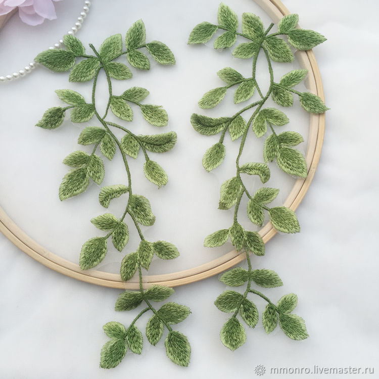 Refined embroidery applique, Twigs leaves, Applications, Podolsk,  Фото №1