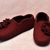 """Обувь ручной работы. Ярмарка Мастеров - ручная работа Валяные женские тапочки """"Бордо"""". Handmade."""