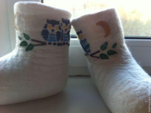 """Обувь ручной работы. Ярмарка Мастеров - ручная работа. Купить валенки """"Совушки"""". Handmade. Белый, валенки для девочки, детские валенки"""