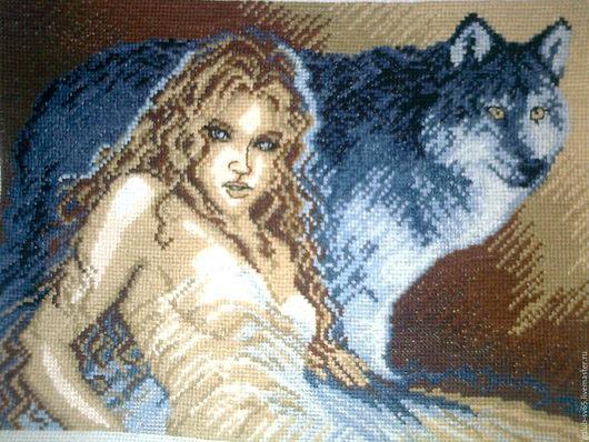 Люди, ручной работы. Ярмарка Мастеров - ручная работа. Купить Девушка с волком. Handmade. Серый цвет, Глаза, взгляд волчицы